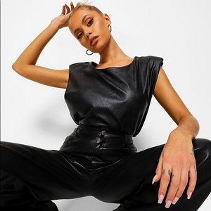 Boohoo NWT leather look shoulder pad top